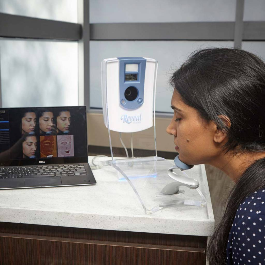 woman having face scan